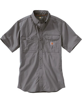 Carhartt Men's Double Pocket Short Sleeve Work Shirt, Charcoal Grey, hi-res