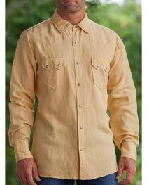 Ryan Michael Men's Wheat Silk Linen Sawtooth Snap Shirt, , hi-res