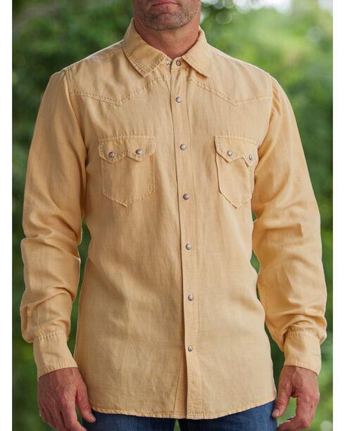 Ryan Michael Men's Wheat Silk Linen Sawtooth Snap Shirt, Wheat, hi-res