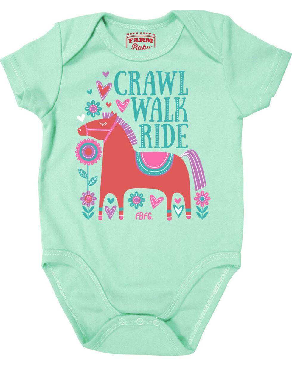 Farm Girl Infant Girls' Crawl Walk Ride Creeper, Teal, hi-res