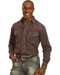 Crazy Cowboy Men's Black Heavy Stitch Trim Long Sleeve Shirt , Black, hi-res