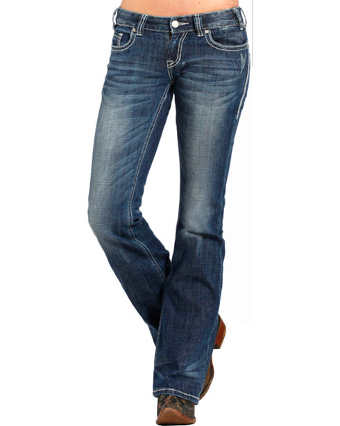 Rock & Roll Cowgirl Women's Indigo Original Low Rise Jeans - Boot Cut , Indigo, hi-res