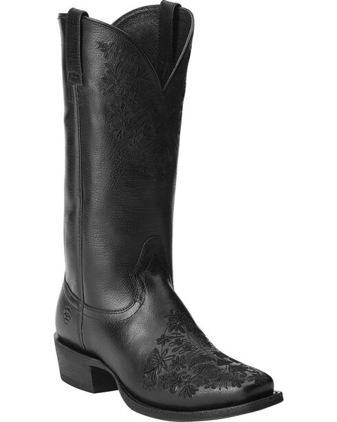 Ariat Women's Ardent Floral Embroidered Western Boots, Black, hi-res