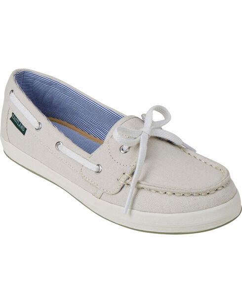 Eastland Women's Bone Skip Canvas Boat Shoe Slip-Ons , Ivory, hi-res