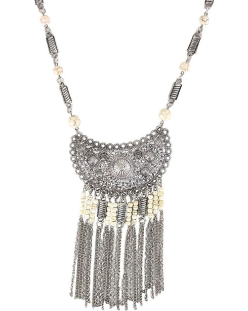 Shyanne® Women's Scallop Fringe Necklace , Silver, hi-res