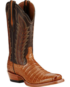 Ariat Men's Turnback Caiman Belly Exotic Boots, Tan, hi-res