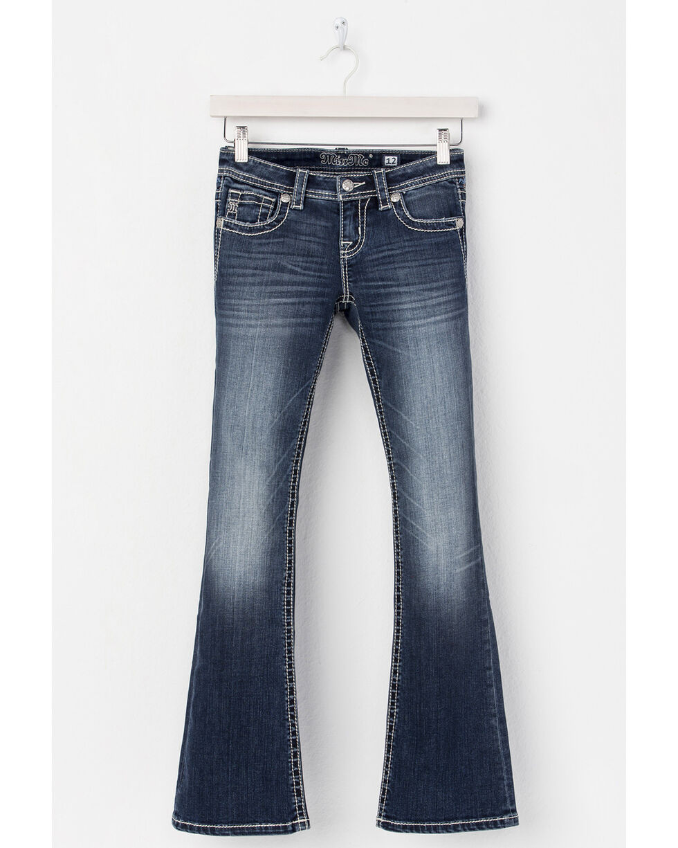 Miss Me Girls' Peace and Love Boot Cut Jeans , Blue, hi-res