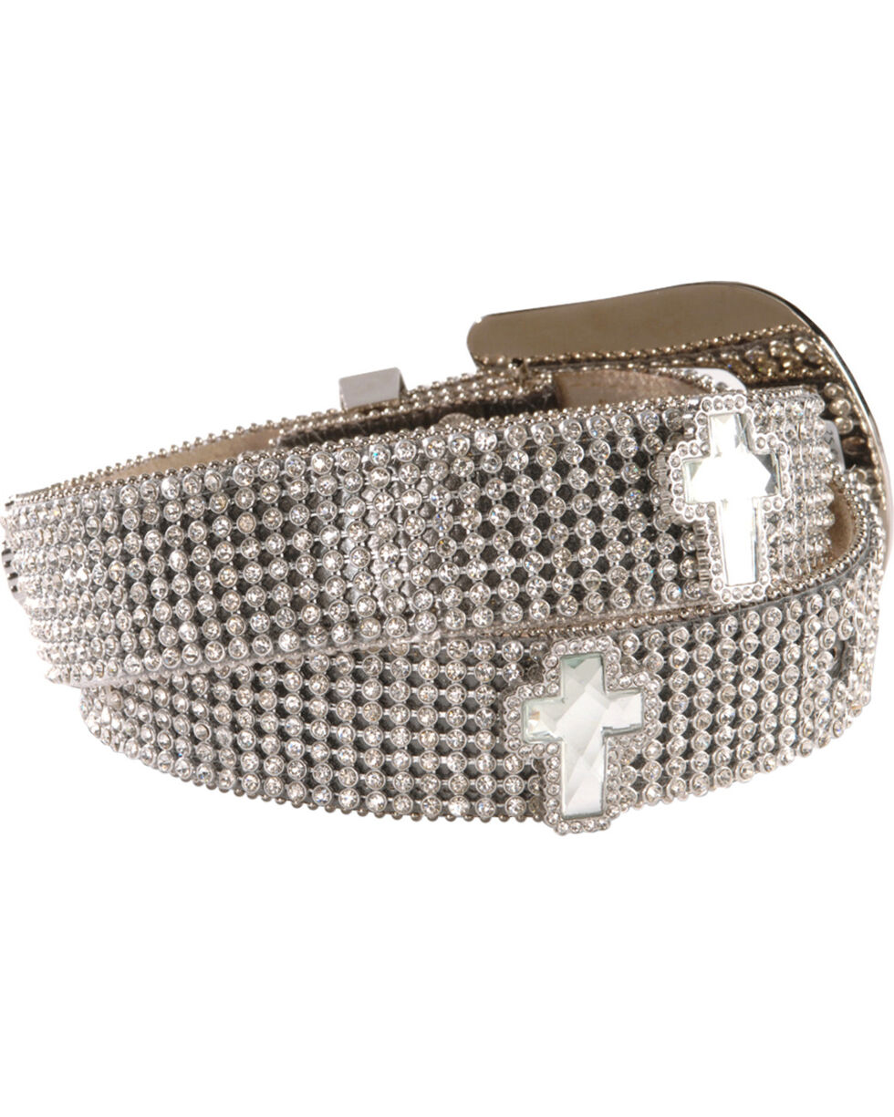 Nocona Belt Co Women's Rhinestone and Cross Belt, White, hi-res