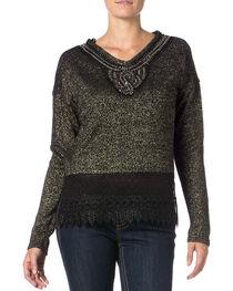 Miss Me Women's Lace Border Knit Top , , hi-res