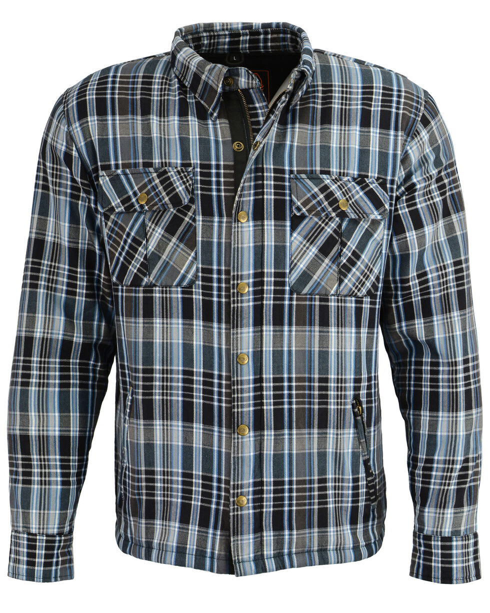 Milwaukee Performance Men's Black/White/Blue Aramid Flannel Biker Jacket - 4X, Black/blue, hi-res