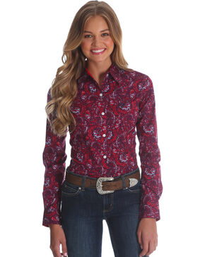 Wrangler Women's Red George Strait Paisley Print Shirt , Red, hi-res