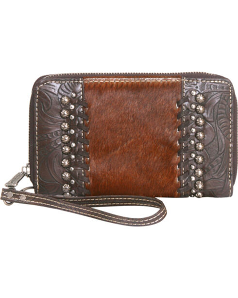 Montana West Trinity Ranch Tooled Wallet with Cowhide, , hi-res