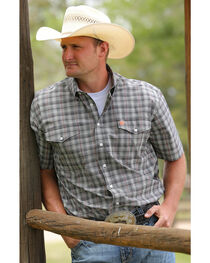 Cinch Men's Black Double Pockets Short Sleeve Shirt , , hi-res
