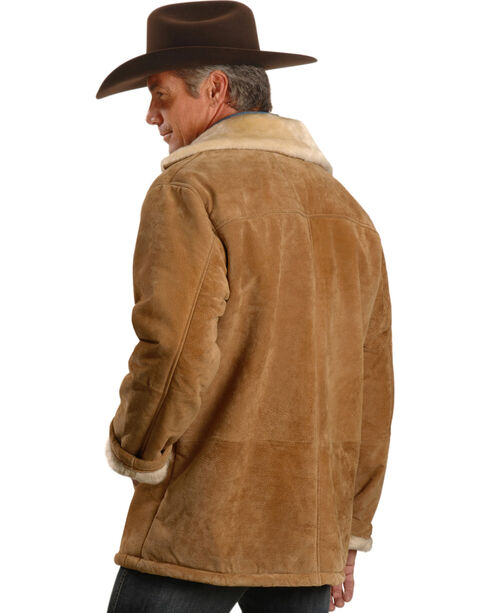 Vintage Leather Men's Sherpa-Lined Suede Coat, Tan, hi-res
