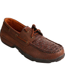 Twisted X Men's Full Quill Ostrich Driving Moc Casual Shoes, , hi-res