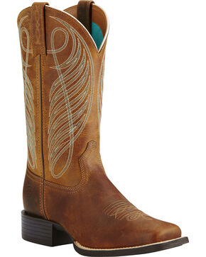 Ariat Women's Round Up Western Boots, Brown, hi-res