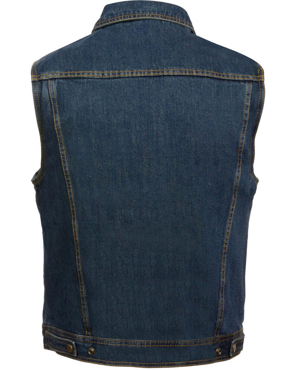 Milwaukee Leather Men's Snap Front Denim Vest w/ Shirt Collar- Big - 4X, , hi-res