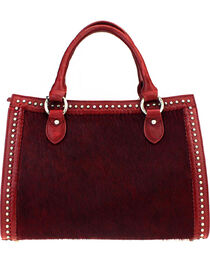Montana West Delila Satchel 100% Genuine Leather Hair-On Hide Collection in Burgundy, , hi-res