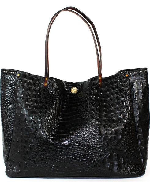 SouthLife Supply Women's Black Croc Medium Bucket Bag, Black, hi-res