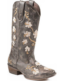 Roper Women's Embroidered Flower Power Western Boots, , hi-res