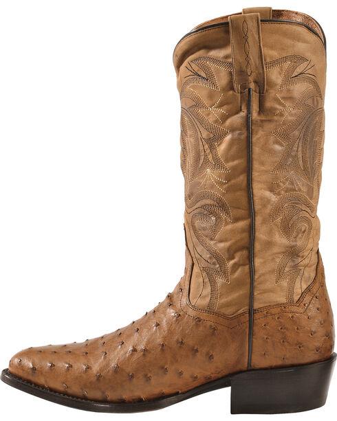 Dan Post Men's Full Quill Ostrich Tempe Western Boots, Saddle Tan, hi-res