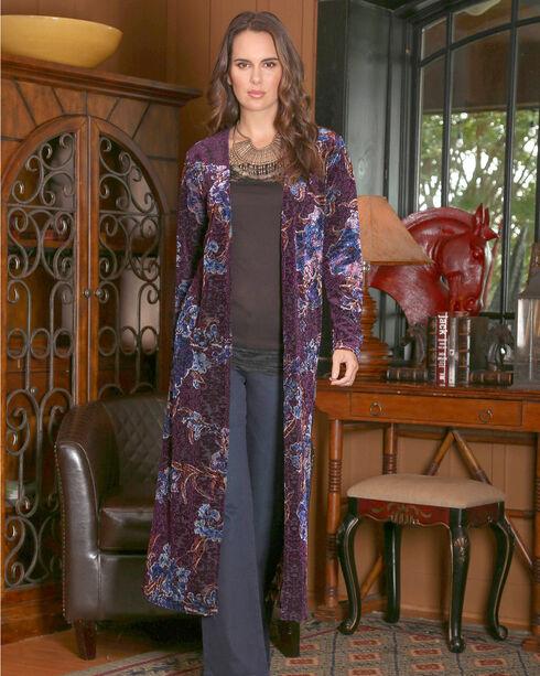 Wrangler Women's Purple Paisley Velvet Duster , Purple, hi-res
