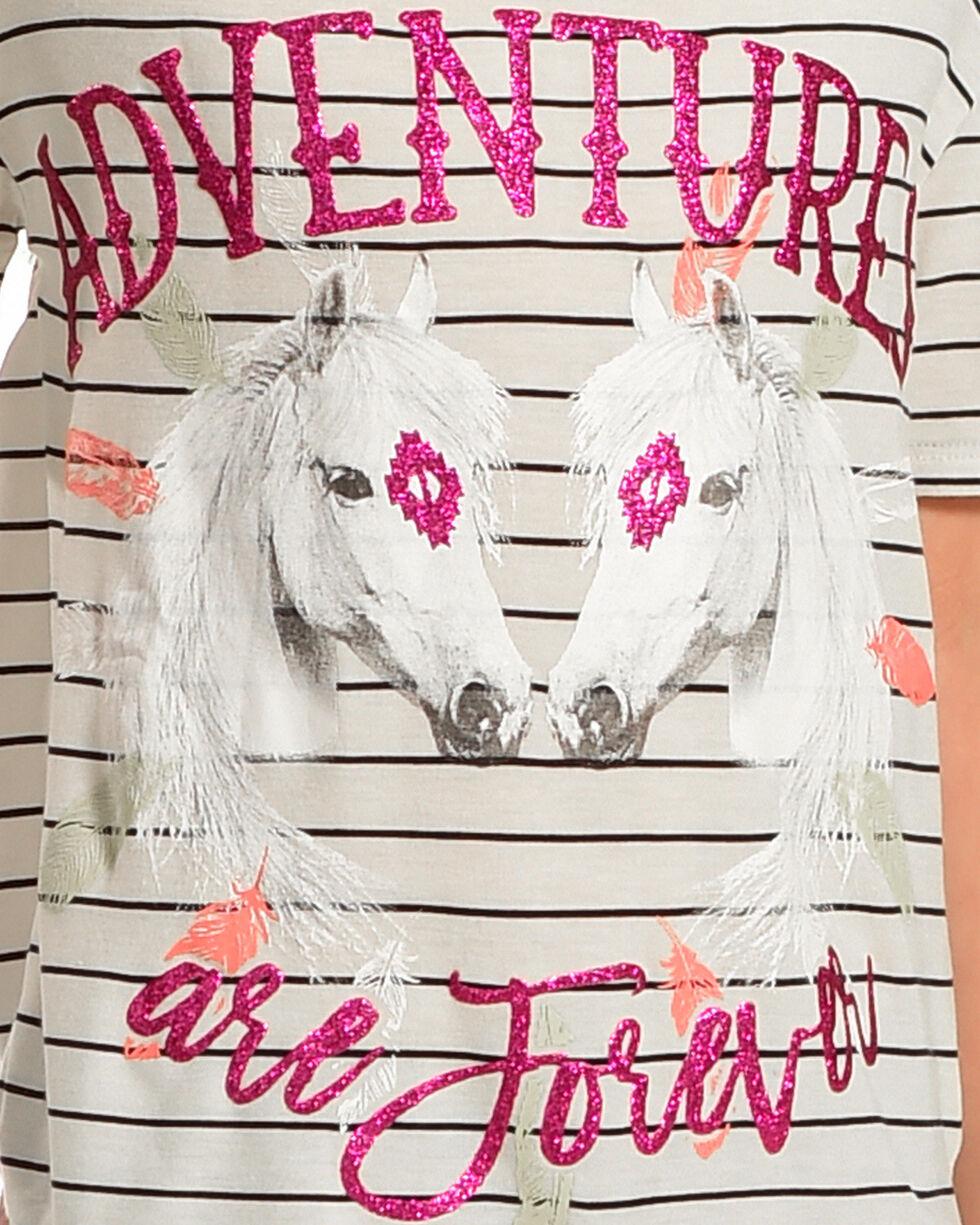 Ransom Girls' Adventures Are Forever Striped Cold Shoulder Top, Cream/black, hi-res
