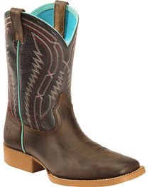Ariat Youth Chute Boss Western Boots, Brown, hi-res