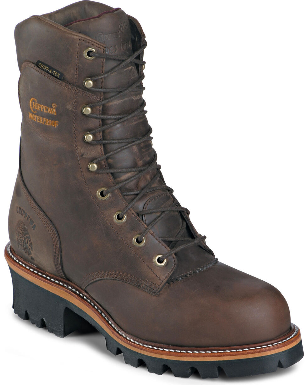 """Chippewa Men's 9"""" Waterproof Safety Toe EH Super Logger Work boots, Bay Apache, hi-res"""