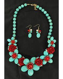 Blazin Roxx Handmade Stone Flower Necklace & Earrings Set, , hi-res