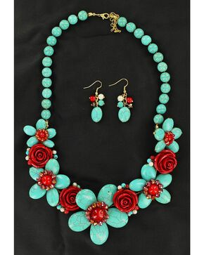 Blazin Roxx Handmade Stone Flower Necklace & Earrings Set, Turquoise, hi-res