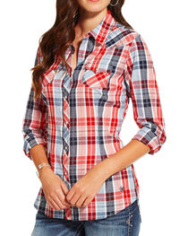Ariat Women's Eagle Plaid Long Sleeve Shirt, , hi-res
