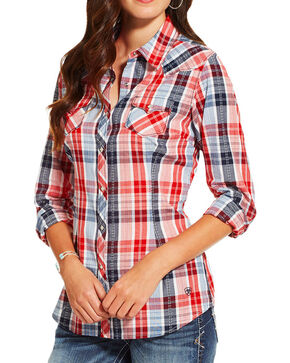 Ariat Women's Eagle Plaid Long Sleeve Shirt, Multi, hi-res