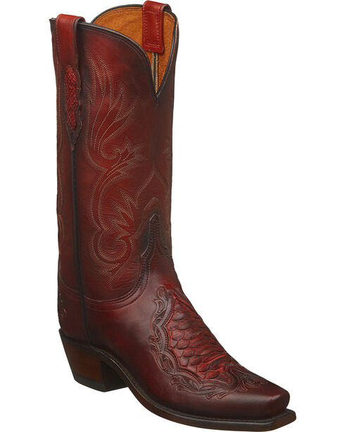 Lucchese Women's Red Beatrice Python Inlay Western Boots - Square Toe , Red, hi-res
