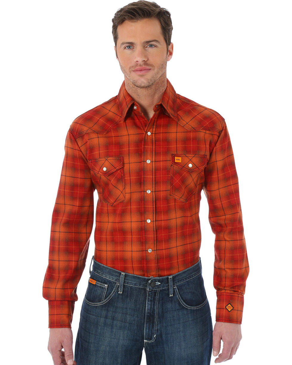 Wrangler Men's Orange 20X FR Long Sleeve Fashion Plaid Shirt | Tuggl