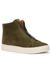 Frye Women's Dark Green Lena Zip High Shoes - Round Toe, , hi-res