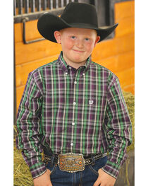 Cinch Boy's Purple Plaid Long Sleeve Shirt, , hi-res