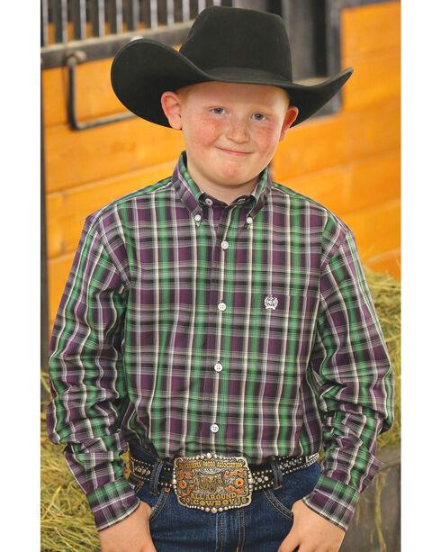 Cinch Boy's Purple Plaid Long Sleeve Shirt, Purple, hi-res
