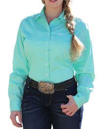 Cinch Women's Solid Green Button Down Western Shirt, , hi-res