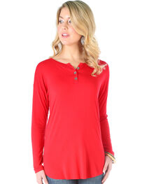 Wrangler Women's Red Knit Henely Long Sleeve Top , , hi-res