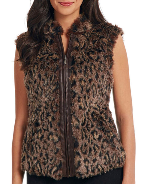 Cripple Creek Women's Leopard Faux Fur Zip Vest, Brown, hi-res