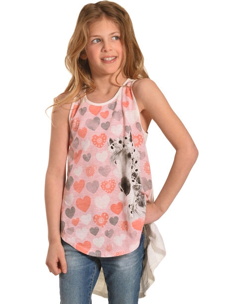 Shyanne Girls' Horses and Hearts Tank Top , Pink, hi-res