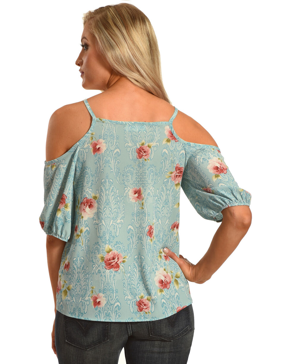 Ces Femme Women's Cold Shoulder Floral Top, Blue, hi-res