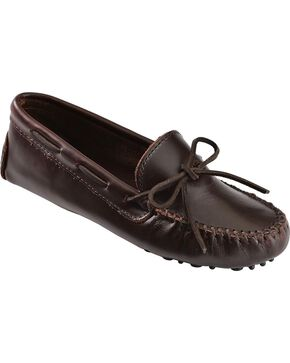 Women's Minnetonka Classic Driving Moccasins, Dark Brown, hi-res