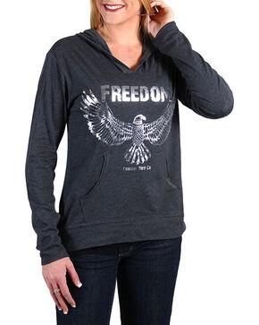 Cowgirl Tuff Women's Freedom Hoodie Shirt, Grey, hi-res