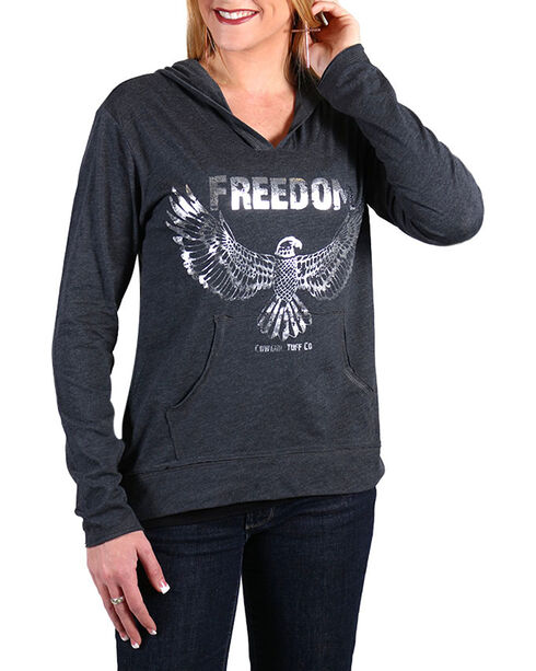 Cowgirl Tuff Women's Freedom Hoodie Shirt, Grey, hi-res