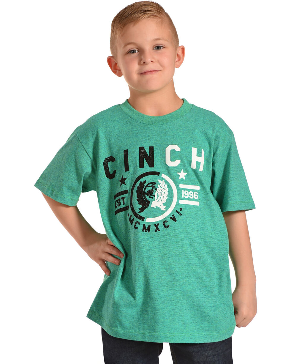 Cinch Boys' Teal Logo Short Sleeve Tee , Teal, hi-res