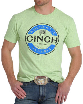 Cinch Men's Tri-Color Logo Screen Print Tee, Bright Green, hi-res