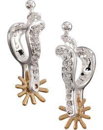 Montana Silversmiths Women's Rhinestone Spur Earrings, , hi-res