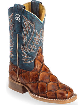 Horse Power Boys' Cognac Seas the Day Fish Print Boots - Square Toe , Cognac, hi-res